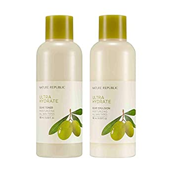 Nature Republic Toner Emulsion Set with Olive Leaf Extracts - Home Skin Care Moisturizer Set with Real Egyptian Olive 10,000ppm Shea Butter Vitamin E