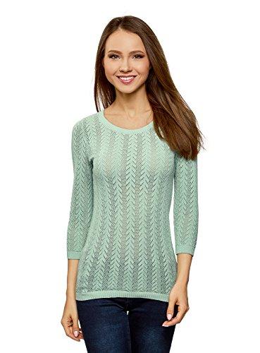 oodji Ultra Damen Baumwoll-Pullover mit Zopfmuster, Grün, DE 34 / EU 36 / XS