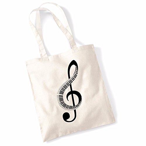Printed Tote Bag Slogan Women's Gift Idea 100% Cotton Piano Music Note Funny Beach Accessories Canvas Shoulder Bag - Natural