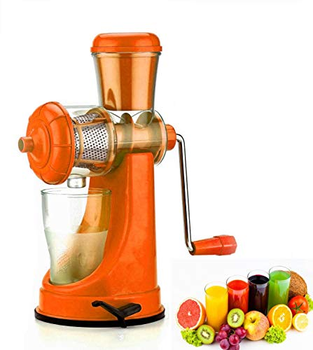 Wazdorf Hand Juicer for Fruits and Vegetables with Steel Handle Vacuum Locking System,Shake, Smoothies, Travel Juicer for Fruits and Vegetables,Fruit Juicer for All Fruits,Juice Maker Machine (Light Orange)