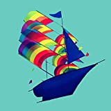 Generic Brands 3D Rainbow Sailboat Kite Single Line Kite Cartoon Kite Outdoor Sport Family Game Flying Tool Children Toys Adult Gift