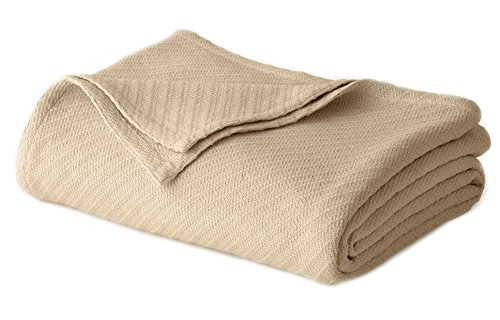 COTTON CRAFT - 100% Soft Premium Cotton Thermal Blanket - Twin Beige - Snuggle in These Super Soft Cozy Cotton Blankets - Perfect for Layering Any Bed - Provides Comfort and Warmth for Years