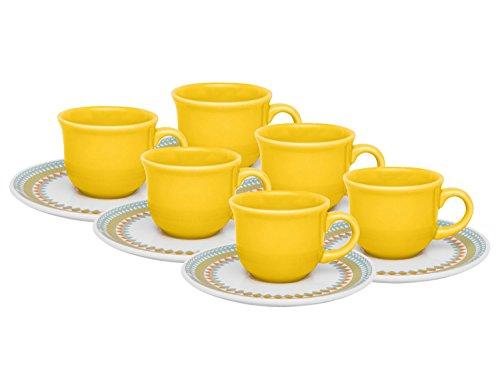 Conjunto com 6 Xicaras de Chá 200Ml com Pires Oxford Daily Floreal Bilro Multicor 15Cm