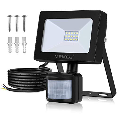 MEIKEE 10W LED Strahler mit Bewegungsmelder, 1200ML superhell Außenstrahler LED Scheinwerfer 6500K kaltweiß LED Fluter IP66 wasserdichter für Garten, Garage, Sportplatz oder Hotel