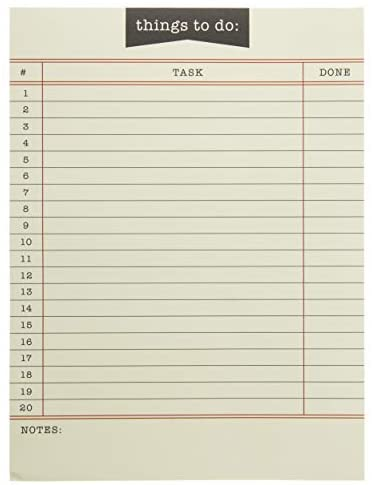Graphique Library Card To-Do List Notepad – 150 Tear-Away Planner Sheets – Things to Do Memo Writing Pad – Perfect Daily Reminder for School, Office Work, Homework, Projects, and More