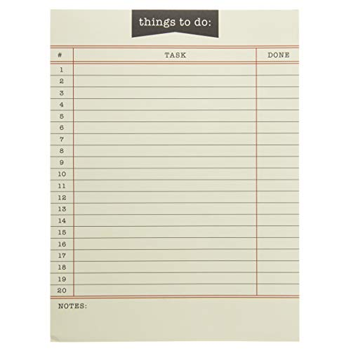 "Graphique Library Card Large Notepad, ""Things to Do"" Notepad with 150 Tear-Off Sheets, Perfect for Notes, Homework, Recipes, Lists, and More, 6"