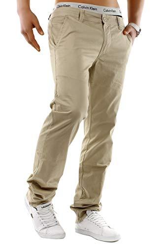 EGOMAXX Herren Chino Hose Stretch Jeans Slim Fit Designer Basic Stoffhose, Farben:Hellbraun, Größe Hosen:W28