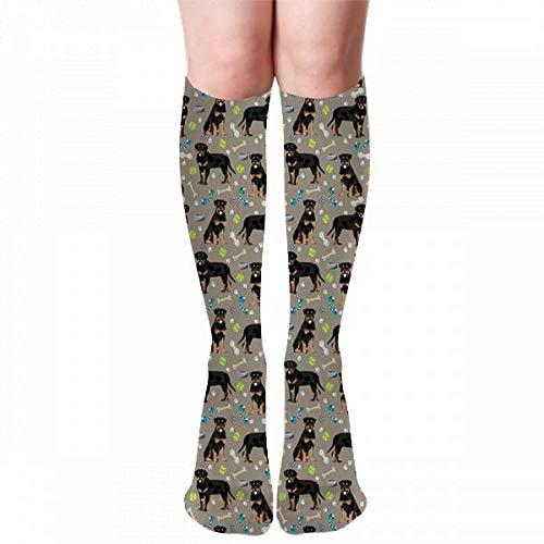 hgdfhfgd Rottweiler Perro Perros y juguetes Marrones Damas Invierno Calcetines hasta la rodilla Medias Medias Calcetines al aire libre (50 cm)