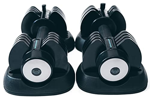 BRAINGAIN 5-in-1 PAIR Adjustable Dumbbell 2-12kg black (Easy Safe Locking Mechanism) Home Fitness Gym Equipment (2x 12kg)