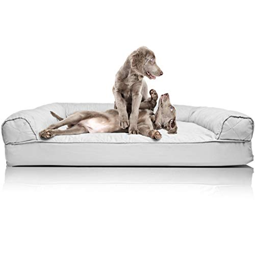 Furhaven Pet Dog Bed - Orthopedic Quilted Traditional Sofa-Style Living Room Couch Pet Bed with Removable Cover for Dogs and Cats, Silver Gray, Jumbo