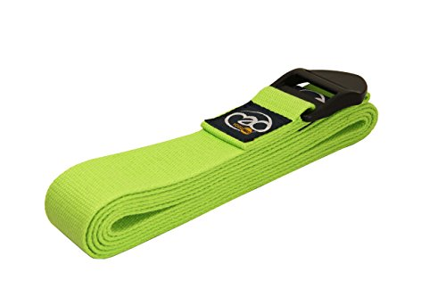 Yoga-Mad 100% Cotton Yoga Strap and Stretching Belt | 2m or 2.5m Long | Cinch Buckle Strap | For Stretching, Yoga, Pilates, Dance, Gymnastics and Flexibility (Pack of One) (Green, 2.5m Long)