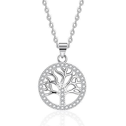 VIWIND Lebensbaum Kette Damen 925 Sterling Silber Halsketten mit funkelnden kubischen Zirkonia Mode Ketten mit Baum des Lebens Anhänger Schmuck Geschenk mit Geschenkbox Ausdruck der Liebe für Immer
