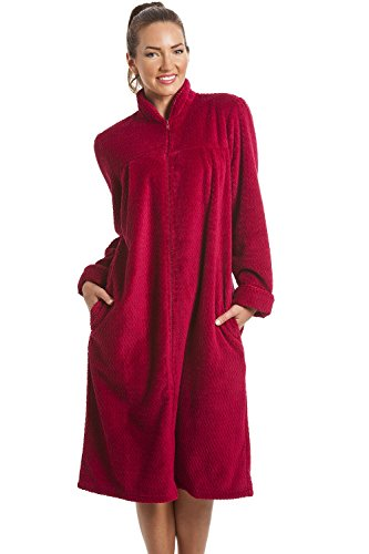 CAMILLE Long Sleeve Superweiche Fleece-Hausmäntel mit Reißverschluss vorne,Rot,46-48