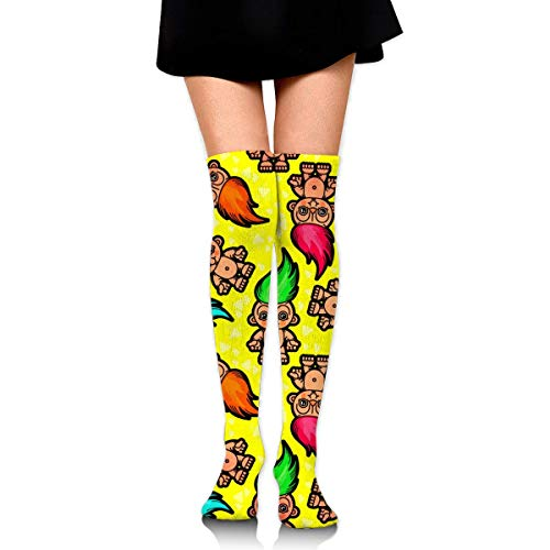 WH-CLA Kompressionssocken Troll Puppenmuster Gedruckt Im Freien Over Knee Beinlinge Frauen Lässig Cosplay Lange Socken Über Knie Hohe Stiefel Socke Kompressionssocken Kleid Neuheit Mädch