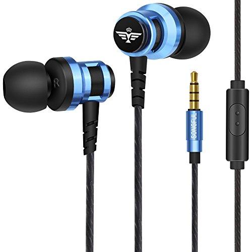 AFUNTA Earbud Kopfhörer, Ear Kopfhörer 3.5mm mit Mikrofon Stereo Sound Noise Isolierung Ergonomischer Komfort für Handy iPhone Samsung Sony iPad Laptop PC - Blau