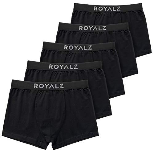 ROYALZ 5er Pack Boxershorts Herren 'Lifestyle' Männer Unterhosen breiter Bund atmungsaktive Unterwäsche Men 5 Set (95% Baumwolle / 5% Elasthan), Farbe:Schwarz, Größe:L