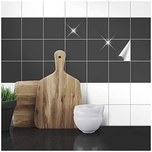 Wandkings Fliesenaufkleber - Wähle eine Farbe & Größe - Anthrazit Glänzend - 10 x 10 cm - 50 Stück für Fliesen in Küche, Bad & mehr