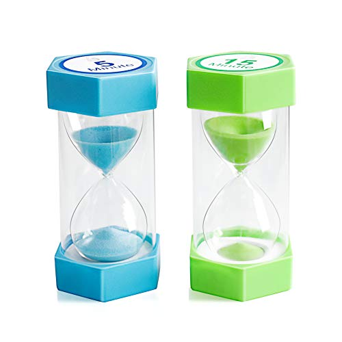 Sand Timer,XINBAOHONG Hourglass Sand Timer 5 Minutes 15 Minutes Timer Clock for Kids Games Classroom...