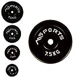 MSPORTS Hantelscheiben Paar Professional aus 100% Gusseisen 5-20 kg Hantel (2 x 7,5 kg - Schwarz)