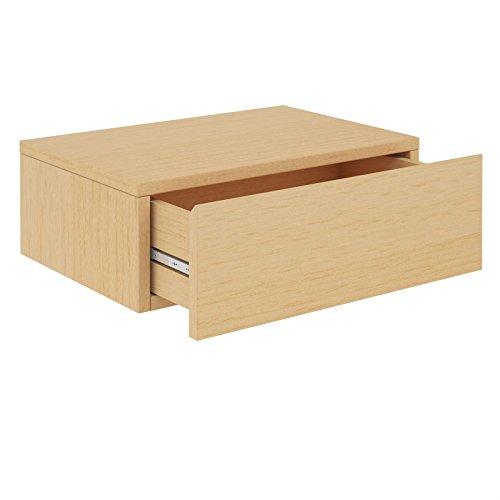 CARO-Möbel Wandregal Anne hängende Nachtkommode Wandboard Nachttisch mit 1 Schublade schwebend, grifflos, in buchefarben