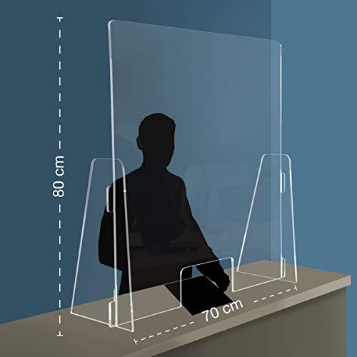 Q&B Grafiche PPF Plaque de protection en plexiglas pour comptoir, avec ouverture, 70x80cm