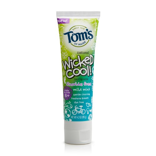 Tom's Of Maine Wicked Cool Mild Mint Kid's Toothpaste Fluoride Free, 4.2 Ounce