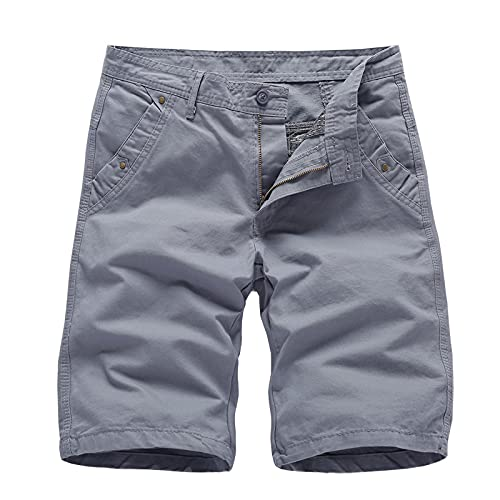 EMPERSTAR Pantalones Cortos de natación para Hombre Pantalones Cortos de Carga Ligeros Pantalones de algodón para Exteriores de Trabajo utilitario con múltiples Bolsillos Gris Size32