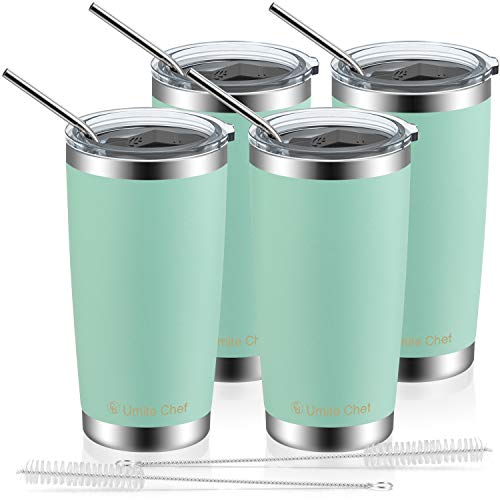 4 Pack 20oz Insulated Tumblers with Lid & Gift Box | Stainless Steel Coffee Cup by Umite Chef | Double Wall Vacuum Insulated Travel Coffee Mug with Splash Proof slid lid (Cyan)