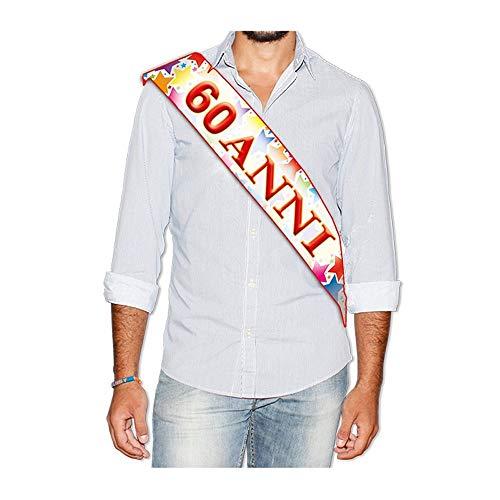 Big Party Fascia Compleanno 60 Anni, Multicolore, 168 X 10 Cm