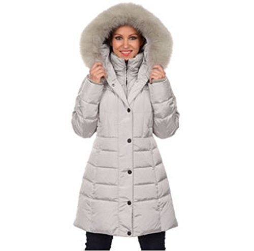 1 Madison Ladies' Down Coat with Faux-fur Hood and Inner Vest-pinot, Stone, Size-M