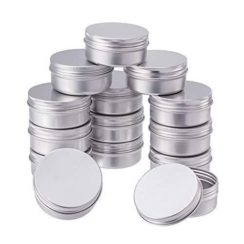 BENECREAT 20 Pack 50ml Lata de Aluminio Caja de Aluminio Redondas con Tapa de Rosca Contenedores Metálicos - Ideal para Almacenar Especias, Dulces, Té o Pastillas (Platino)