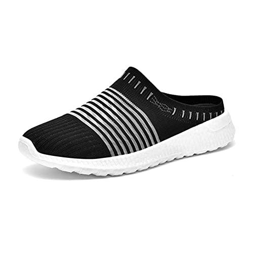 N/U Zuecos unisex para el tiempo libre, zapatos de malla transpirables, ligeros, antideslizantes, zapatos de jardín, zapatos de interior y exterior, color Negro, talla 36 EU