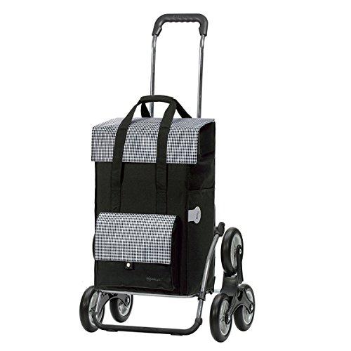 Andersen Einkaufstrolley Royal Treppensteiger klappbar und 49 Liter Einkaufstasche Milla schwarz