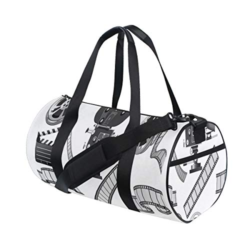 HARXISE Bolsa Viaje,Ilustración temática en Escala Grises la Industria cinematográfica la Pizarra y el Carrete la película del proyector,Bolsa Deporte con Compartimento para Sports Gym Bag