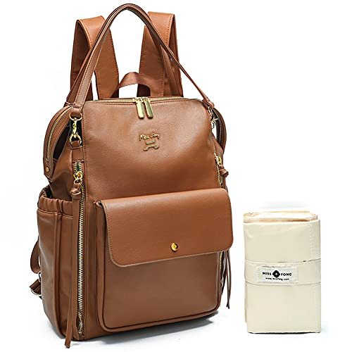 Baby Changing Bag Backpack by Miss Fong Nappy Changing Backpack Leather Diaper Bags with Changing Mat Baby Bags for Mum and Dad, with Stroller Straps, Insulated Pockets-Brown