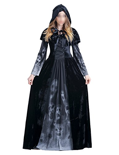 THEE Schwarz Hexenkostüm Lange Robe Vampir Zombie Hexe Kostüm Halloween Cosplay Karneval Fasching Fastzeit Damen (XXL)