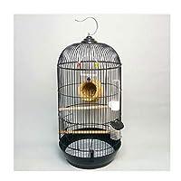 滑り止めフードボックスのペットハウス33x70cmのスタンド付き広い丸い鳥のケージの飛行飛行救急箱のオウムの鳥籠 (Color : Black)
