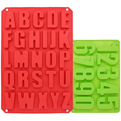 Large Letters Alphabet and Number Molds for Chocolate, Cake Decorating, Crayons, Candy, Cookies Baking