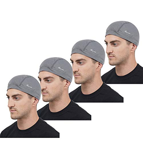 Marc Loire Lightweight Stretchable Motorcycle Sweat Wicking Under Helmet Skull Cap for men and women Protects from Wind, Sun, Dust for biking, Cycling and Outdoor Activities (Pack of 4, Grey)