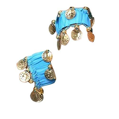 Bauchtanz Handgelenk Handkette Manschette Armband Mit Goldfarbenen Münzen Lake Blau Eine Größe