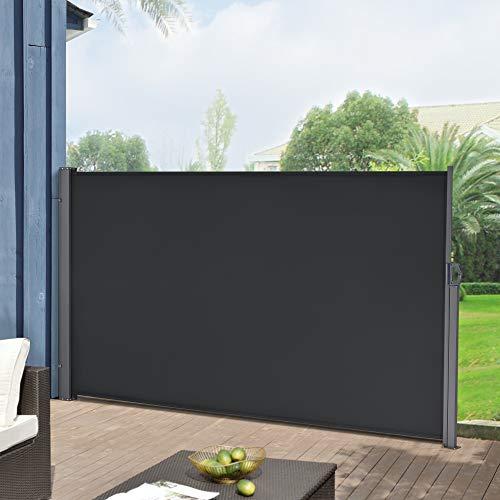 Toldo Lateral 180 x 300 cm Exterior contra Viento, Sol y visión Extensible Marquesina Protectora Negro