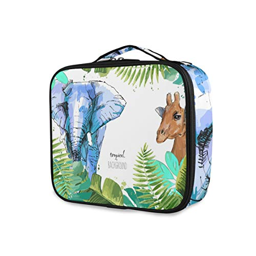 Outils Cosmetic Train Case Beauty Portable Tropical Leaf Elephant Giraffe Storage Toiletry Pouch Travel Makeup Bag