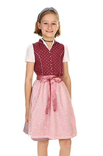 Isar-Trachten Kinder Dirndl festlich Kleid Tracht Mädchen 3-teilig mit Bluse und Schürze 43320 Beere Gr.134