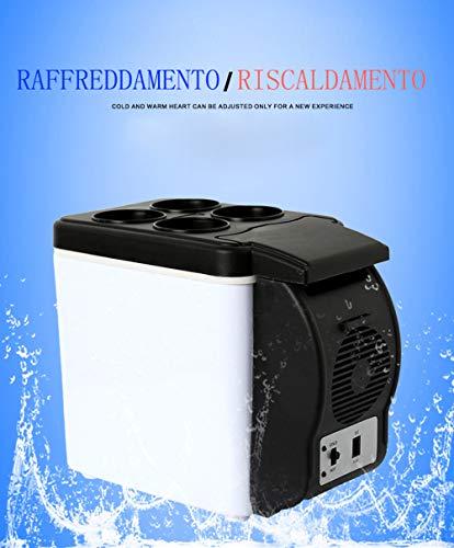 UNKNOW Mini frigo Portatile con Funzione di Riscaldamento e Raffreddamento 2 in 1 per Viaggi Picnic Campeggi (6L Nero Bianco)