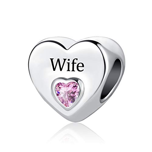 SBI Jewelry Wife Heart Charm for Bracelets Family Charm Bead Pink Crystal Birthstone Gift for Mum Sister Friend Birthday