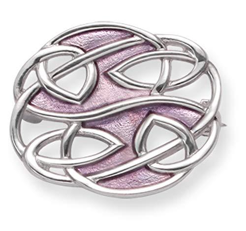 Spilla ovale in argento Sterling con smalto lilla, design di Rennie Mackintosh,dimensioni: 24x 20mm; in confezione regalo;modello: 9102/B54