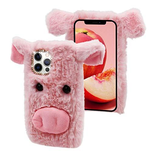 Cestor Plüsch Handyhülle für Huawei P30 Lite,Niedlich 3D Schwein Weich Winter Warm Pelzig Flauschige Faux Pelz Glitzer Diamant Stoßfest Silikon Hülle,Rosa