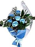 Ramo Flores Eternas Preservadas 6 Rosas Azul Claro 60x20cm