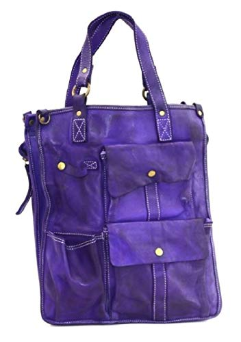 BZNA Bag Como lila Italy Designer Damen Handtasche Schultertasche Tasche Leder Shopper Neu