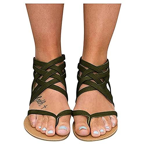 Orgrul Sandalias Mujer Verano 2021, Chanclas Mujer Verano Plana, Bohemio Espiga Diamante De Imitación Playa Clip Toe Pisos Cómodo Casual Zapatos 18F8 (36, D)